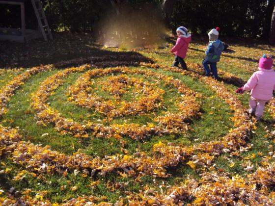 fall leaf labyrinth - happy hooligans