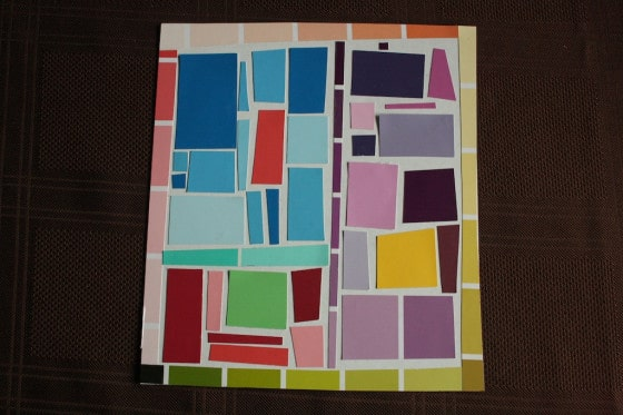 kids mosaic art with paint chip samples square