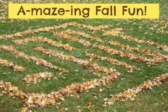 Backyard leaf maze made with fallen leaves