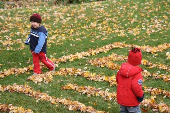 leaf maze, kids walking