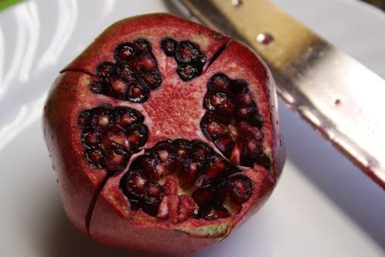 top cut off pomegranate
