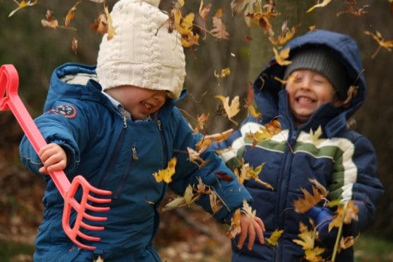 preschool boys throwing fall leaves in the air