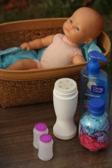 doll, pump bottles and shaker bottles