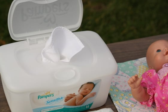 homemade pretend play wipes in pampers wipes container
