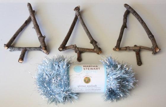 twig tree ornaments - twig triangles and eyelash yarn