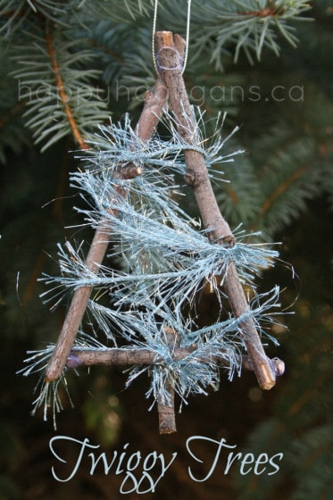 Twig tree ornaments for kids to make