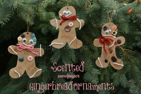 scented sandpaper gingerbread ornaments