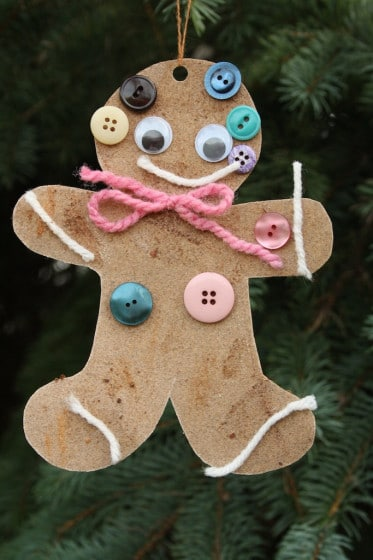 scented sandpaper gingerbread ornament with pink yarn bow
