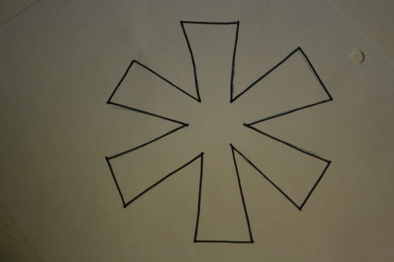template for simple snowflake ornament