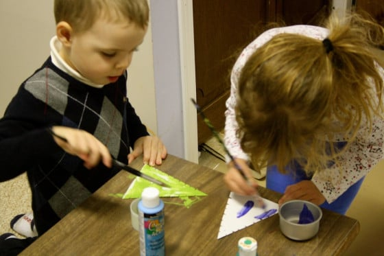 painting the wool wrapped tree ornaments