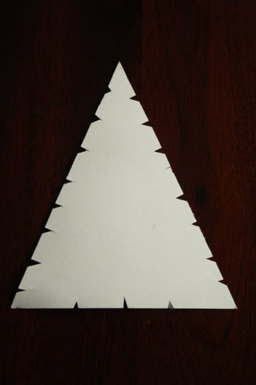 notched cardboard triangle for wool wrapped tree ornament