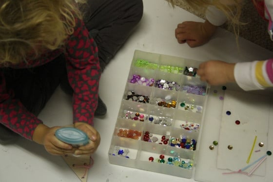 adding gems to the lacing tree ornaments