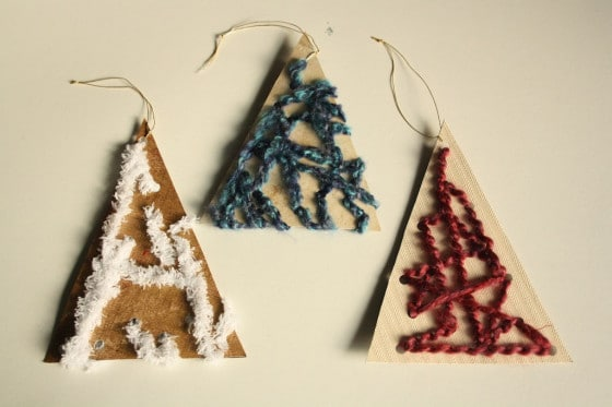 3 lacing tree ornaments