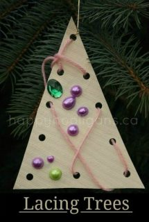 Lacing Tree Ornaments for Toddlers and Preschoolers to Make