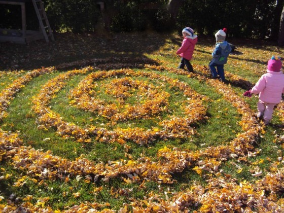 leaf labyrinth for toddlers made when raking leaves in the backyard