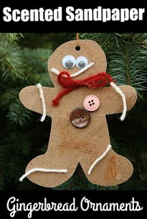 Scented Sandpaper Gingerbread Ornaments for Preschoolers to Make