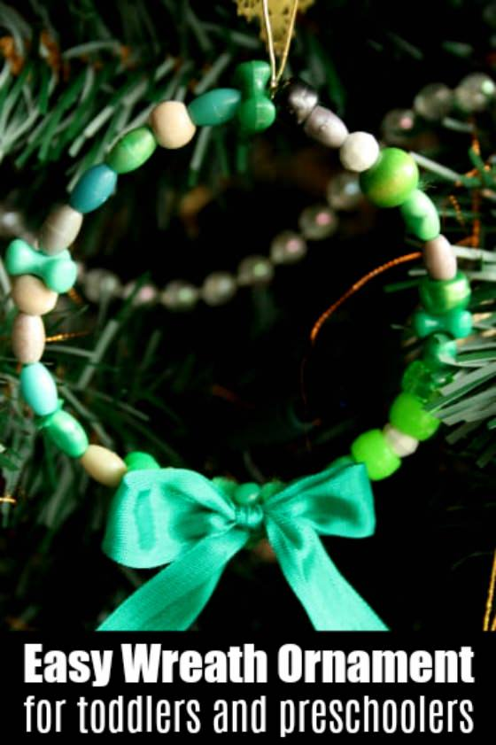 Easy Bead Wreath Ornament for Toddlers and Preschoolers