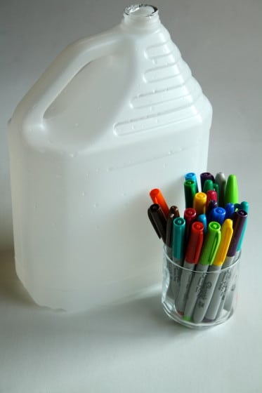 jug and markers for milk jug suncatchers