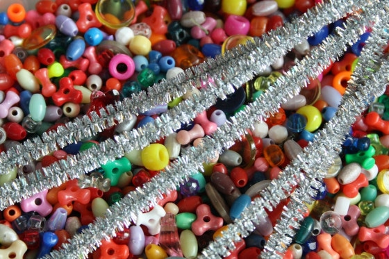 beads and metallic pipe cleaners for icicle ornaments