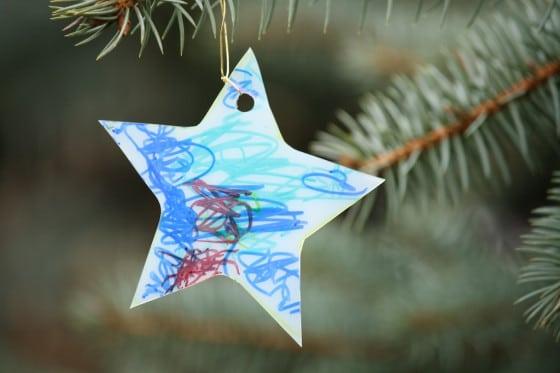 blue star milk jug sun catcher made by a toddler