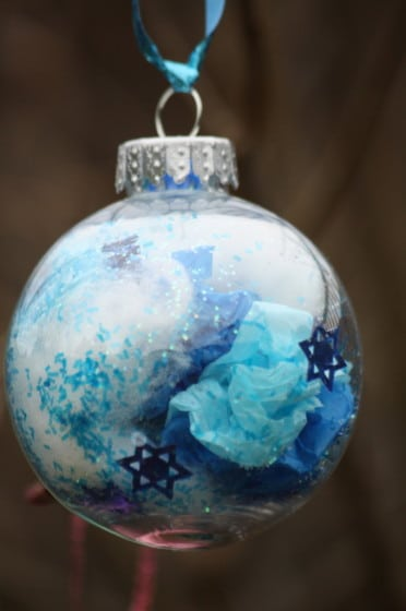 blue clear glass ornament