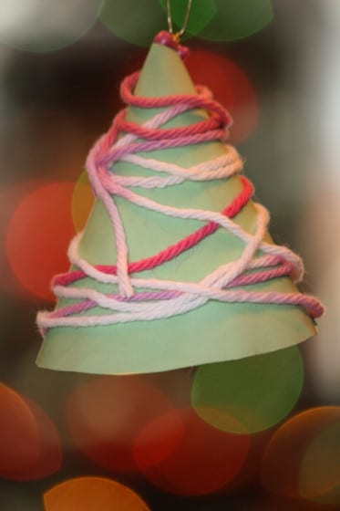 green paper cone tree ornament