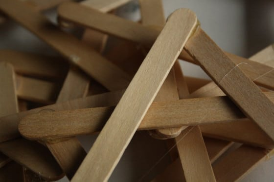 unpainted popsicle sticks glued into stars