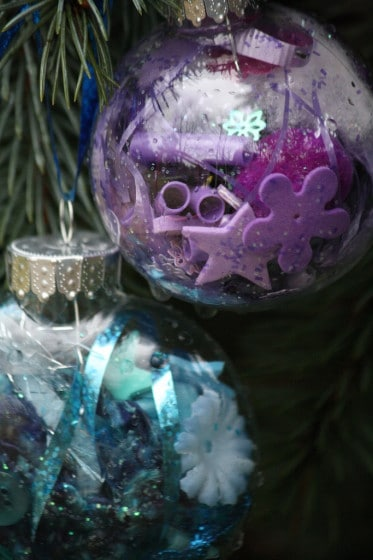 blue and purple clear glass ornaments