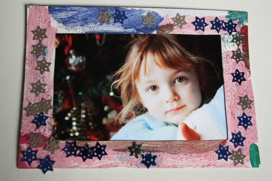 photo of little girl in homemade picture frame