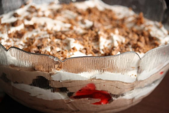 close up black forest trifle