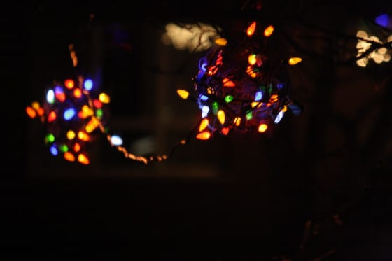 lighted Christmas balls -a unique idea for hanging Christmas lights