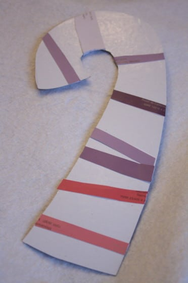 paint chip candy cane magnets, door hangers, christmas ornaments