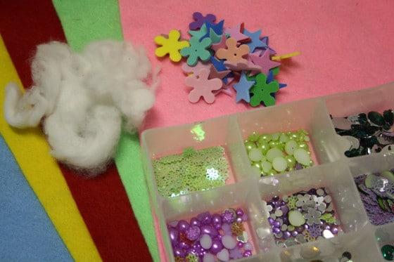 felt, cotton balls, foam shapes, craft gems