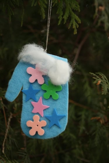 blue felt handprint mitten ornament