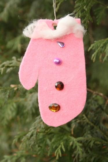 pink felt handprint mitten ornament