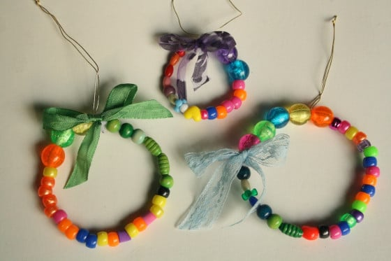 3 simple beaded wreath ornaments
