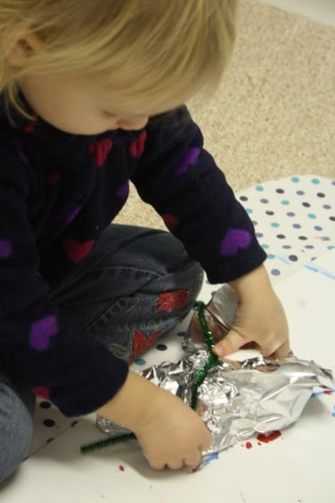 foil wrapped ornament - wrapping with foil and pipe cleaner