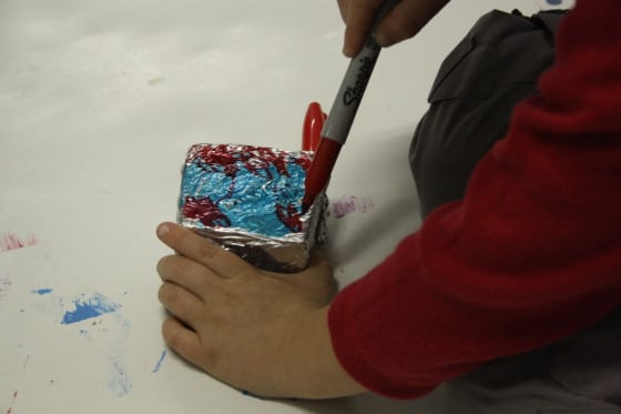 colouring foil with markers for foil wrapped ornaments