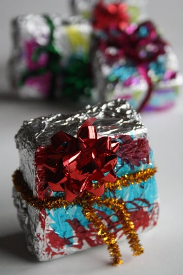 homemade foil ornaments with mini bows