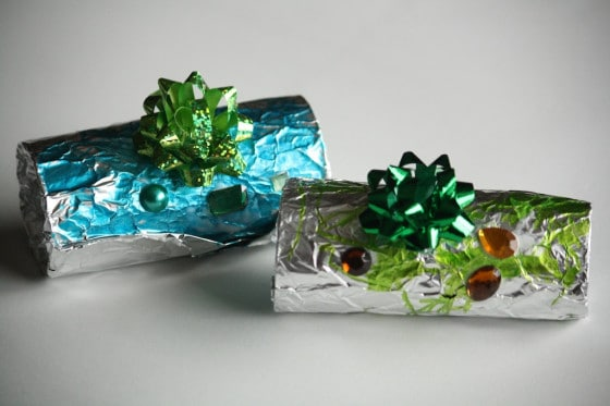 2 foil wrapped toilet roll ornaments