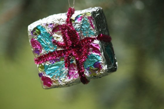 foil ornaments with pipe cleaner bow