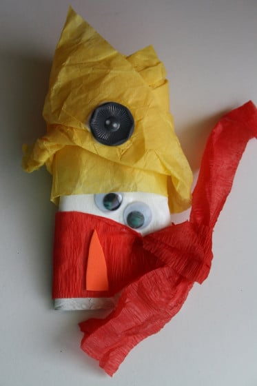 toilet roll and tissue paper snowman ornament - yellow hat, upside down nose