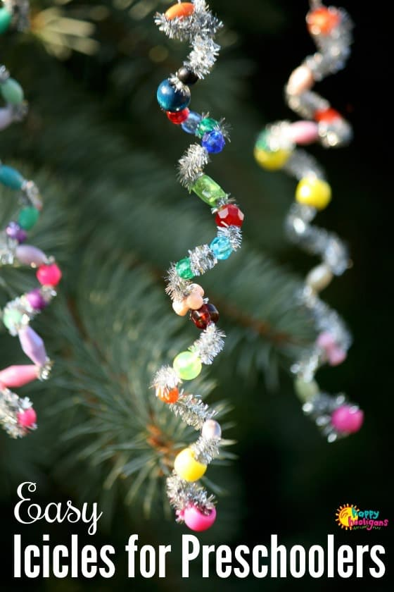 Pipe Cleaner Icicle Ornaments for Toddlers and Preschoolers