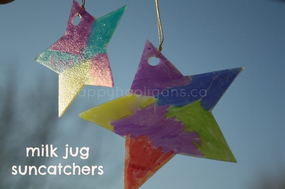 Milk jug sun catchers for christmas happy hooligans for Christmas crafts with milk cartons