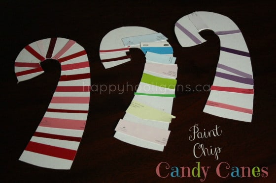 Paint Chip Candy Cane Craft for Preschoolers