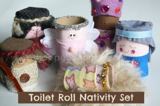 homemade toilet roll nativity set
