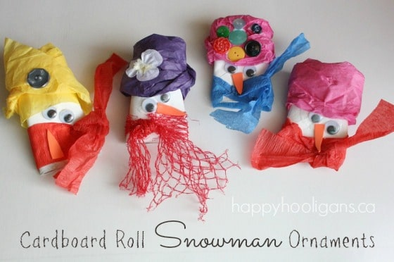 toilet roll snowman ornaments