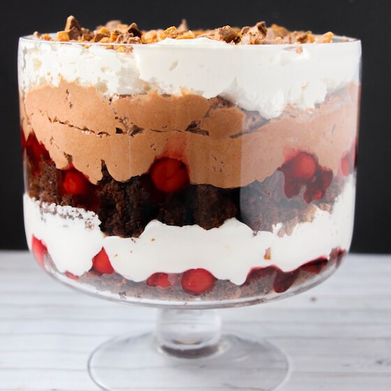 Trifled layers - brownie, cherries, cool whip, chocolate mousse, score bar
