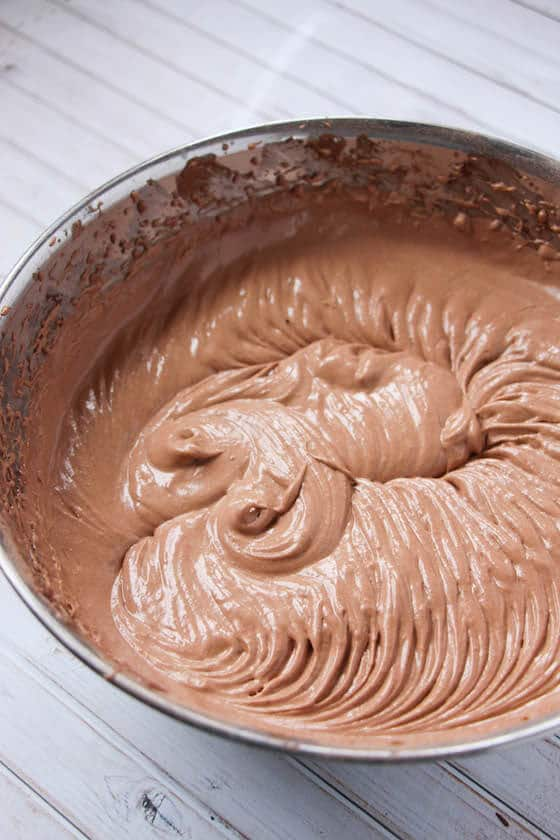 whipped Chocolate Mousse in mixing bowl
