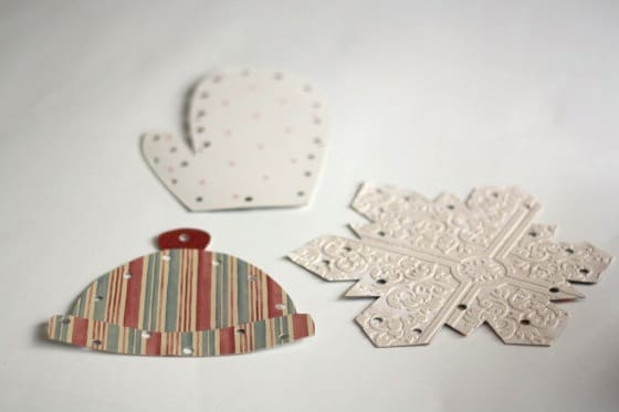 set of 3 homemade winter lacing cards